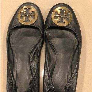 Size 11 Black Leather Tory Burch Flats